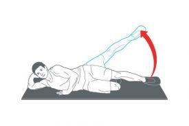 Core stability oefeningen: zijwaarts liggend heup afwenden